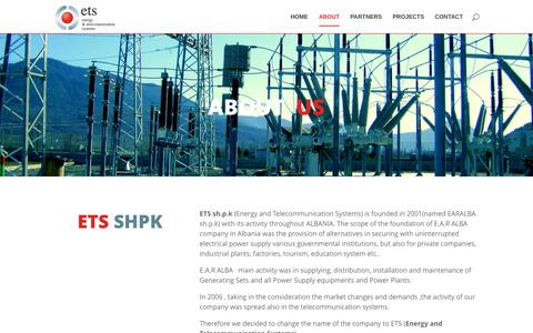 Screenshot of About Page ets-al.com - ETS | ETS sh.p.k is founded in 2001 with its activity throughout ALBANIA. - captured July 11, 2017