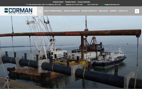 Screenshot of Home Page cormanmarine.com - Corman Marine Construction – Heavy Marine Construction Contractors - captured Sept. 2, 2017