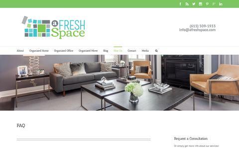 Screenshot of FAQ Page afreshspace.com - Organizing Services FAQ | a fresh space - captured Feb. 6, 2016