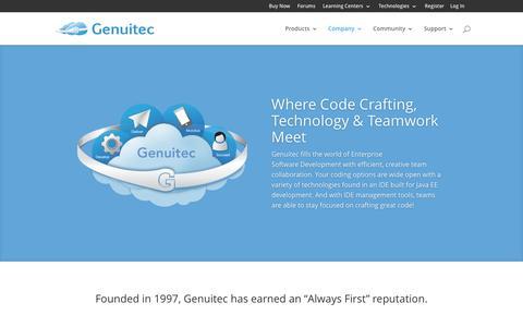 Screenshot of About Page genuitec.com - Company - Genuitec - captured Jan. 19, 2016