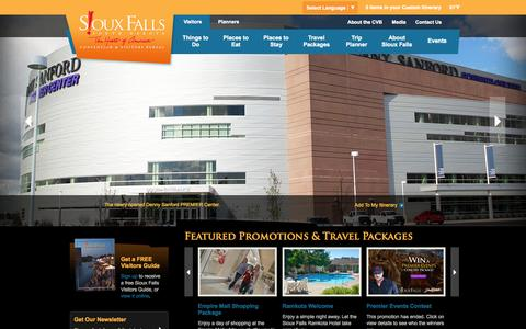 Screenshot of Home Page visitsiouxfalls.com - Visit Sioux Falls, SD | Conventions, Tourism, & Vacations - captured Oct. 6, 2014