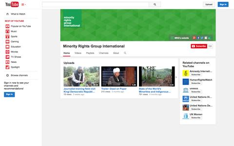 Screenshot of YouTube Page youtube.com - Minority Rights Group International  - YouTube - captured Nov. 5, 2014