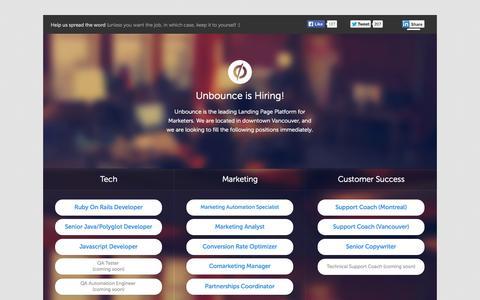 Screenshot of Jobs Page unbounce.com - Unbounce is hiring! #jobs #marketers #developers #designers #javascript #ruby #java #customersuccess - captured Sept. 12, 2014