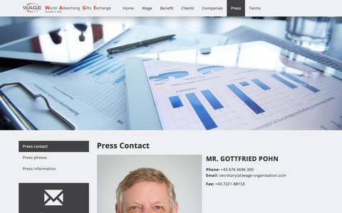 Screenshot of Press Page wage-organisation.com - Press contact - Wage Organisation - captured Feb. 14, 2018