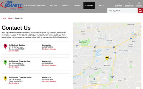 Screenshot of Contact Page Locations Page jeffdeals.com - Contact Jeff Schmitt Auto Group in Fairborn Ohio - captured Sept. 29, 2018