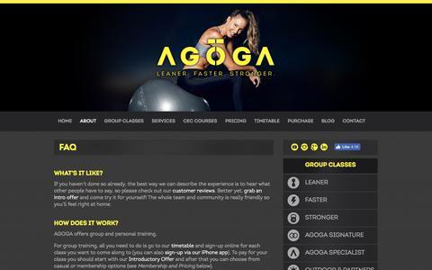 Screenshot of FAQ Page agoga.com.au - AGOGA FAQ - captured July 28, 2018