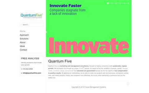 Screenshot of Home Page quantumfive.com - Home - captured Oct. 6, 2014