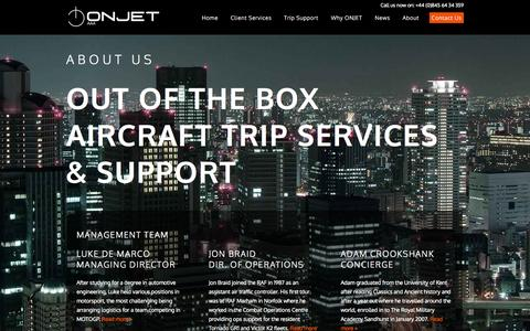 Screenshot of About Page onjet.co.uk - ONJET - About Us - Bespoke Flight Operational Support and Private Aircraft Management - captured Oct. 7, 2014