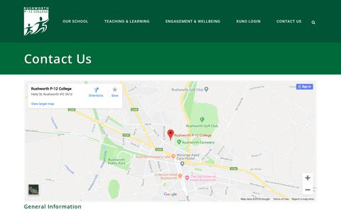 Screenshot of Contact Page rushworthp-12.vic.edu.au - Rushworth P-12 College |   Contact Us - captured Oct. 22, 2018