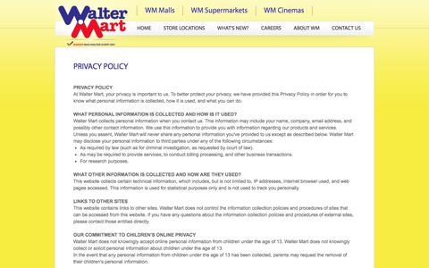 Screenshot of Privacy Page waltermart.com.ph - Walter Mart - Privacy Policy - captured Oct. 19, 2017