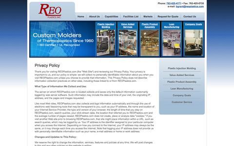 Screenshot of Privacy Page reoplastics.com - Privacy Policy | Plastic Injection Molding Minneapolis, MN | Thermoplastics Custom Molders | REO Plastics - captured Feb. 25, 2016