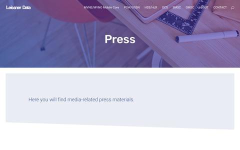 Screenshot of Press Page leissner.se - Press • Leissner - captured Sept. 28, 2018