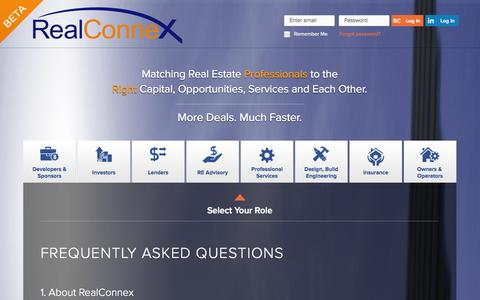 Screenshot of FAQ Page realconnex.com - RealConnex - captured Sept. 17, 2014