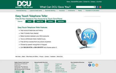 Easy Touch Telephone Teller | DCU | Massachusetts | New Hampshire