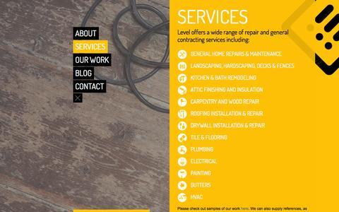 Screenshot of Services Page levelcraftsmen.com - LEVEL |   Services - captured Sept. 29, 2014