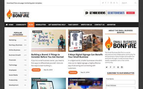 Screenshot of Blog smallbusinessbonfire.com - Small Business Blog   Small Business Bonfire - captured Sept. 23, 2018