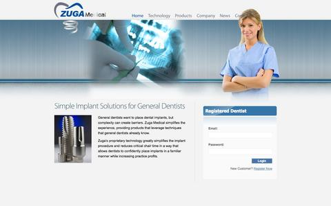 Screenshot of Home Page zugamedical.com - Welcome to Zuga Medical - captured Sept. 17, 2014
