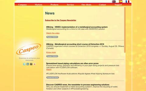 Screenshot of Press Page caspeo.net - News from Caspeo, provider of software solutions for mineral, food and waste processing - captured July 16, 2018
