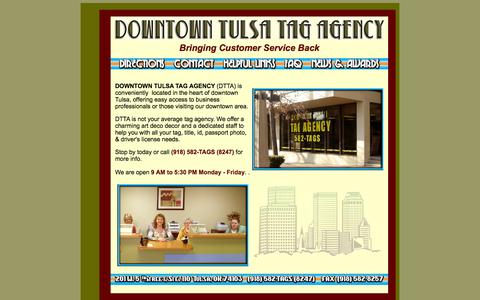 Screenshot of Home Page tulsatag.com - DOWNTOWN TULSA TAG AGENCY - (918) 582-TAGS - captured Oct. 6, 2014