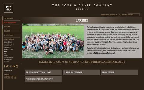 Screenshot of Jobs Page thesofaandchair.co.uk - Careers   Job Vacancies   The Sofa & Chair Company - captured Oct. 26, 2016