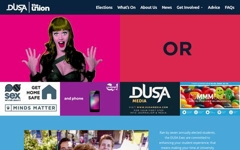 Screenshot of Home Page dusa.co.uk - DUSA The Union | Dundee University Students' Association, The Best Student Union in Scotland - captured Jan. 28, 2016