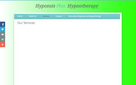 Screenshot of Services Page hypnosisplushypnotherapy.com - Services - captured Sept. 30, 2014