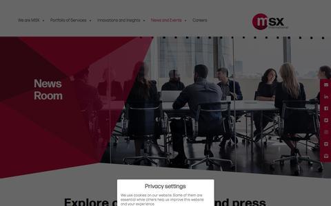 Screenshot of Press Page msxi.com - News - MSXI - captured Nov. 8, 2019
