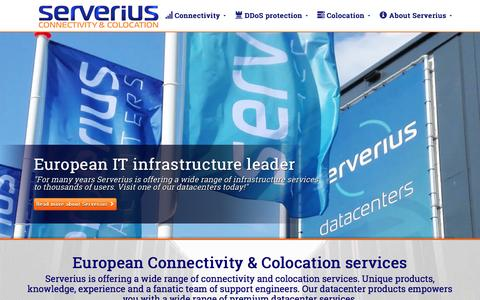 Screenshot of Home Page serverius.net - Amsterdam colocation & connectivity - captured Nov. 30, 2016