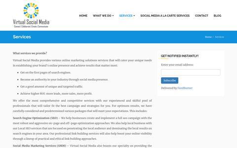 Screenshot of Services Page virtualsocialmedia.com - Social Media Marketing |SMM| SMO Package| - captured April 10, 2018