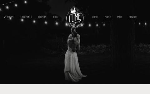 Screenshot of Pricing Page lumephotography.com - Price Guide - Lume Photography - captured March 28, 2019