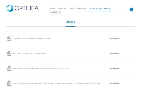 Screenshot of Press Page opthea.com - Media - captured July 12, 2016