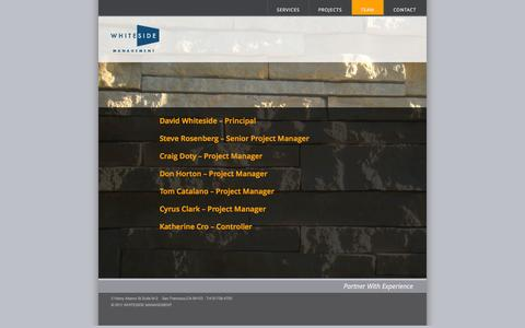 Screenshot of Team Page whitesidemgmt.com - TEAM | Whiteside Management - captured Oct. 27, 2014