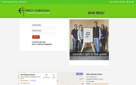 Screenshot of Login Page fccetown.com - Login - First Christian Church in Elizabethtown, Kentucky - captured June 24, 2016