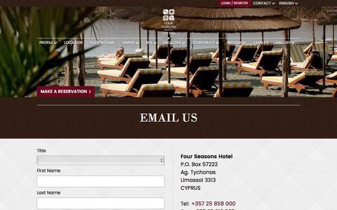 Screenshot of Support Page fourseasons.com.cy - Four Seasons Limassol Cyprus - Email Us - captured Nov. 25, 2016