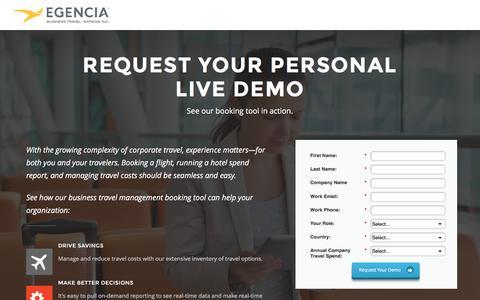 Screenshot of Landing Page egencia.com - Egencia Corporate Travel - Request Live Demo - captured June 14, 2016