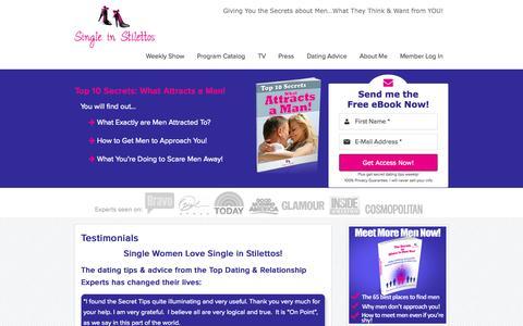 Screenshot of Testimonials Page singleinstilettos.com - Dating Advice Testimonials – Dating Tips Women | Single in Stilettos - captured Sept. 30, 2014