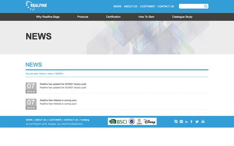 Screenshot of Press Page realfine.com.cn - NEWS - DISNEY BSCI BAGS MANUFACTURER OF HIKING LAPTOP BACKPACK PROMOTIONAL BAG COSMETIC BAG MILITARY BAG - captured Sept. 27, 2018