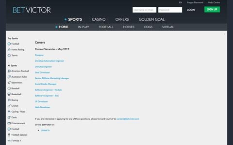 Screenshot of Jobs Page betvictor.com - Sports - Careers - BetVictor - captured June 1, 2017