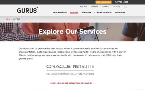 Screenshot of Services Page gurussolutions.com - Gurus Solutions: 5 Star NetSuite Consultant Company - Our Services - captured July 23, 2019