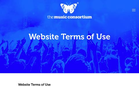 Screenshot of Terms Page themusicconsortium.com - Website Terms of Use   The Music Consortium - captured June 15, 2017