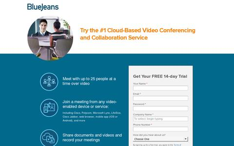 Screenshot of Trial Page bluejeans.com - Free 14-day Trial - Cloud-based Video Conferencing Service | Blue Jeans - captured July 20, 2014