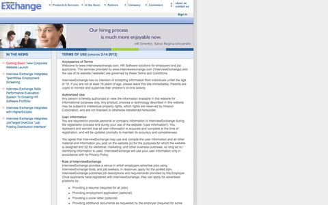 Screenshot of Terms Page interviewexchange.com - Hiring Management Systems ::: Interview Exchange - captured Sept. 24, 2014
