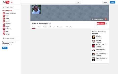 Screenshot of YouTube Page youtube.com - Jose M. Hernandez Jr.  - YouTube - captured Oct. 29, 2014