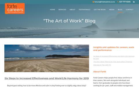 "Screenshot of Blog findmyforte.co.nz - ""The Art of Work"" Blog - Forté Career & Business Designs - captured Dec. 19, 2018"
