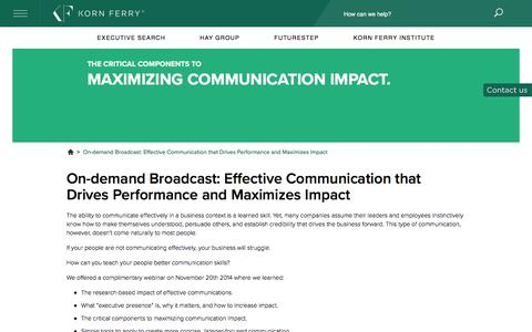 On-demand Broadcast: Effective Communication that Drives Performance and Maximizes Impact
