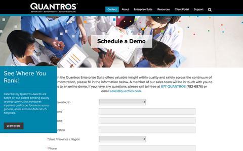 Screenshot of Contact Page quantros.com - Schedule a Demo - Quantros - captured Aug. 19, 2019