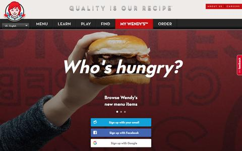 Screenshot of Signup Page wendys.com - Login to My Wendy's - captured Feb. 17, 2017