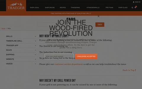 Screenshot of FAQ Page traegergrills.com - FAQS Grill Maintenance & Troubleshooting | Traeger Wood Fired Grills - captured Nov. 2, 2018
