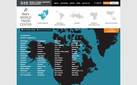 Screenshot of Locations Page wtca.org - World Trade Centers Association - captured Sept. 24, 2014
