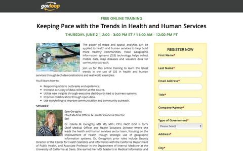 Screenshot of Landing Page govloop.com - Keeping Pace with the Trends in Health and Human Services | GovLoop Online Training - captured Oct. 18, 2016